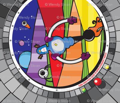 Rainbow robot t-shirt panel
