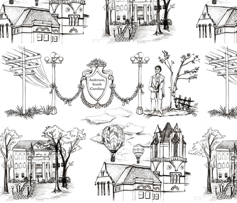 Anderson, South Carolina - The Electric City & home to Hot Air Balloon launches fabric by amy_lou_who on Spoonflower - custom fabric