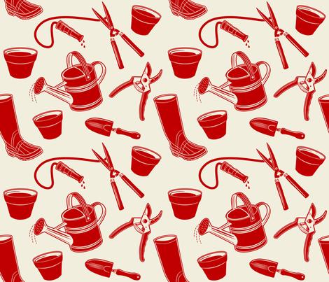 Gardening Tools ~ Red fabric by retrorudolphs on Spoonflower - custom fabric