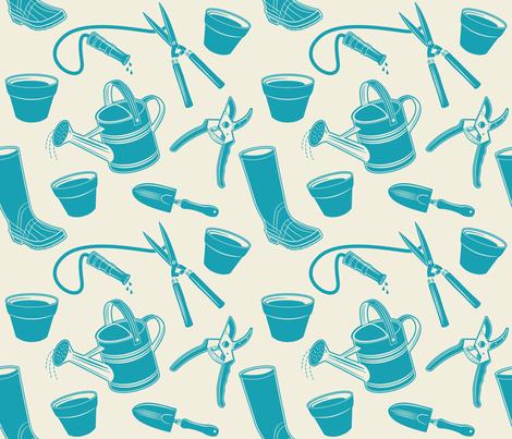 Gardening Tools ~ Deep Turquoise  fabric by retrorudolphs on Spoonflower - custom fabric