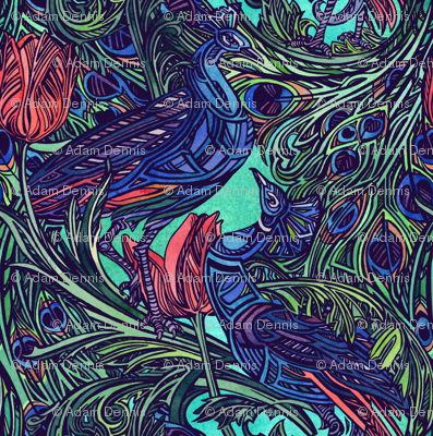 Peacock and Tulip by Adam Dennis