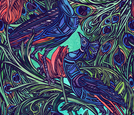 Peacock and Tulip by Adam Dennis fabric by adamdennisarts on Spoonflower - custom fabric