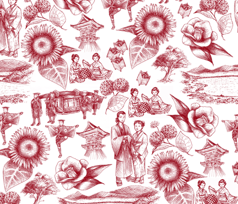 Yosano Toile - Red fabric by siya on Spoonflower - custom fabric