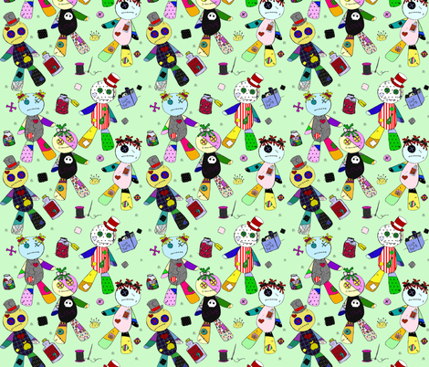 voodoo on green fabric by glanoramay on Spoonflower - custom fabric