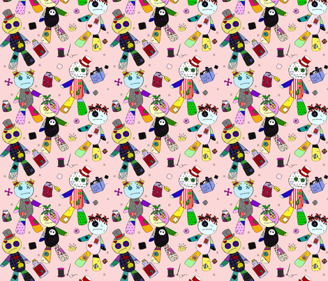 voodoo on pink fabric by glanoramay on Spoonflower - custom fabric