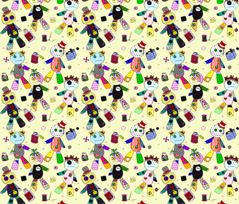 Voodoo on Yellow  fabric by glanoramay on Spoonflower - custom fabric