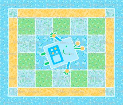 Blue Baby Robot Cheater Quilt