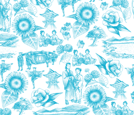 Yosano Toile - Blue fabric by siya on Spoonflower - custom fabric