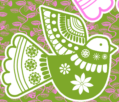 coussin_oiseau_rose_vert fabric by nadja_petremand on Spoonflower - custom fabric