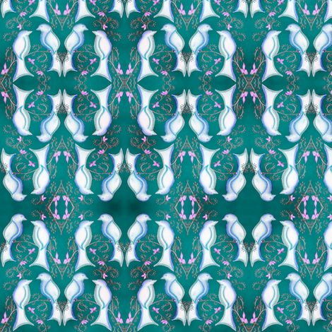 love birds turquoise fabric by krs_expressions on Spoonflower - custom fabric