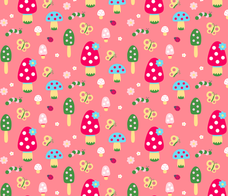 Mushrooms-Pink fabric by fantastictoys on Spoonflower - custom fabric