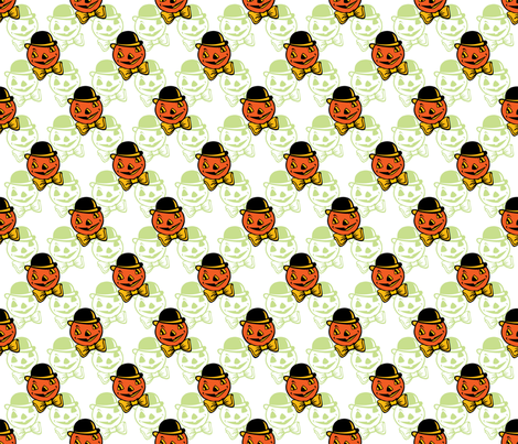 Dapper Pumpkin ~ Green Variant fabric by retrorudolphs on Spoonflower - custom fabric