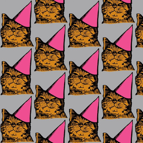 Party Cat, Pink/Orange/Gray