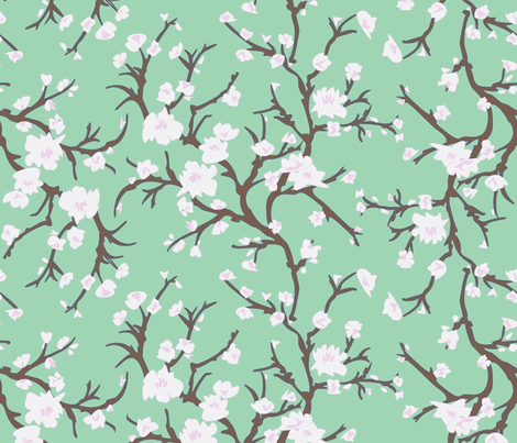 Almond Branch Green fabric by janelle_wooten on Spoonflower - custom fabric