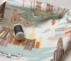 Brooklyn Landmarks Toile - Aqua