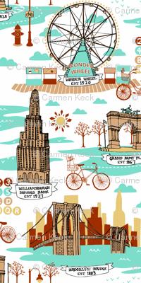 Brooklyn Landmarks Toile - Aqua