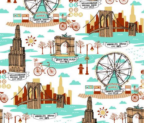 Brooklyn Landmarks Toile - Aqua fabric by carcamella on Spoonflower - custom fabric