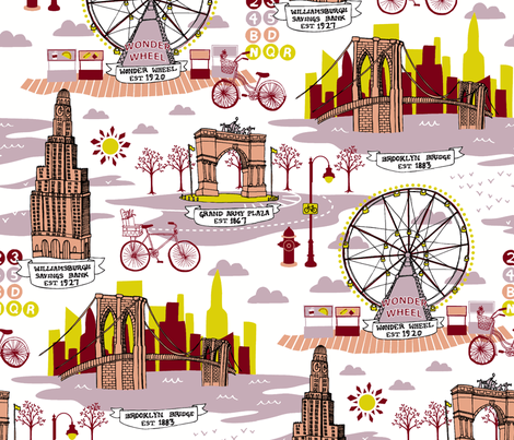 Brooklyn Landmarks Toile - Lavender fabric by carcamella on Spoonflower - custom fabric
