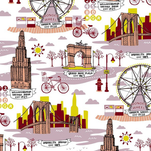 Brooklyn Landmarks Toile - Lavender