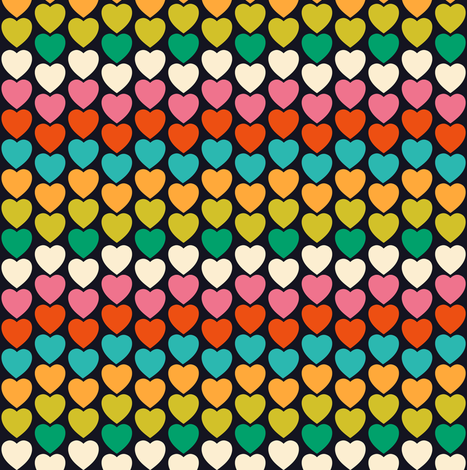 Retro Heart beat fabric by irrimiri on Spoonflower - custom fabric