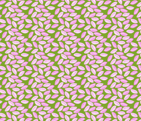 feuille rose fond vert S fabric by nadja_petremand on Spoonflower - custom fabric