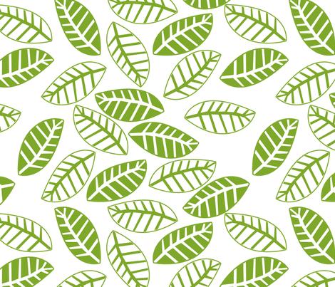 feuille vert fond blanc fabric by nadja_petremand on Spoonflower - custom fabric