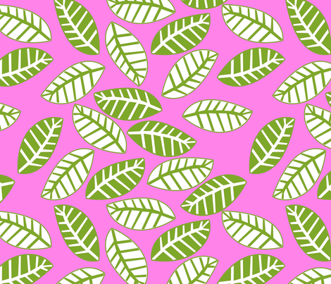 feuille vert fond rose fabric by nadja_petremand on Spoonflower - custom fabric