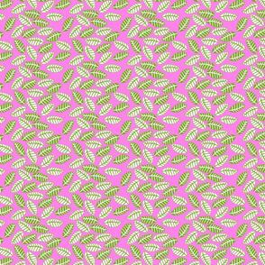 feuille vert fond rose S