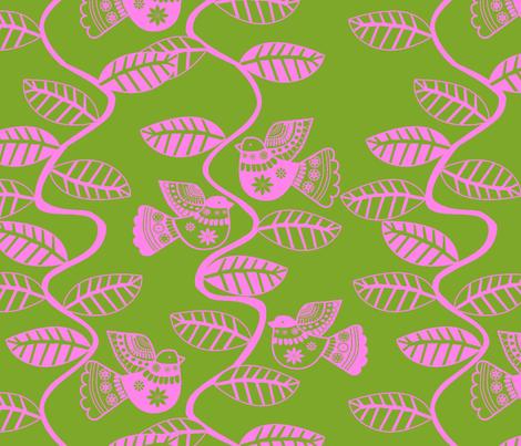 oiseau feuille rose fond  vert fabric by nadja_petremand on Spoonflower - custom fabric