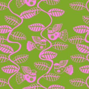 oiseau feuille rose fond  vert