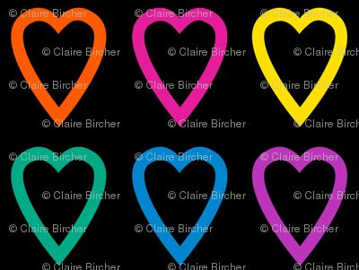 Multi rainbow hearts on black