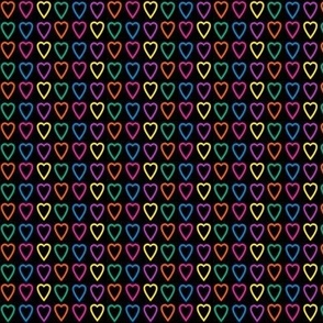 Multi rainbow hearts on black