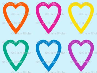Multi rainbow hearts on blue