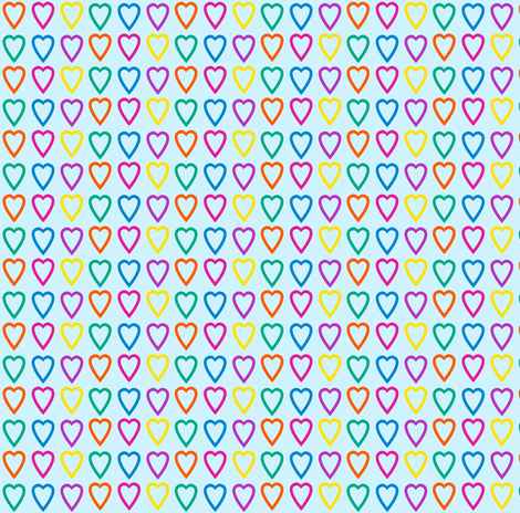 Multi rainbow hearts on blue fabric by glanoramay on Spoonflower - custom fabric