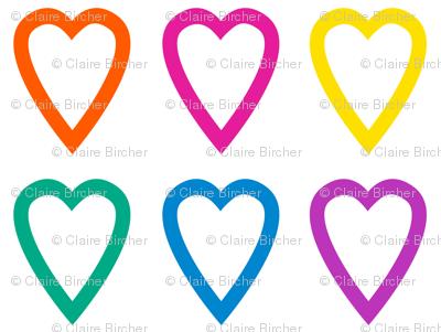 Multi rainbow hearts on white