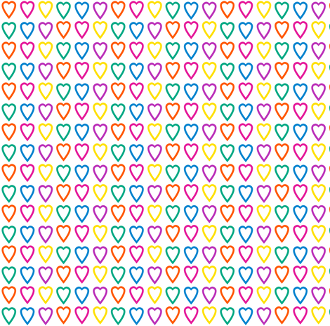 Multi rainbow hearts on white fabric by glanoramay on Spoonflower - custom fabric