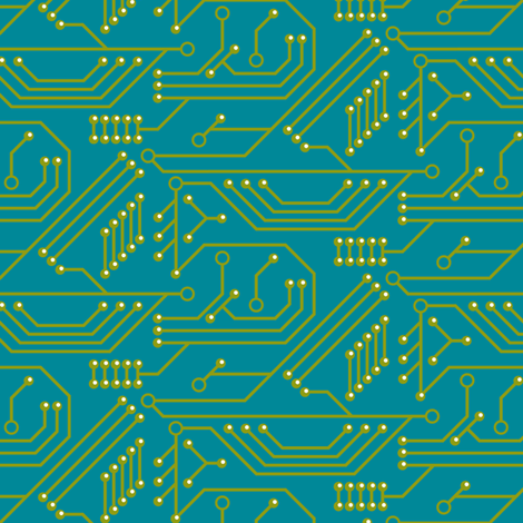Robot coordinates - circuit board - teal fabric by coggon_(roz_robinson) on Spoonflower - custom fabric