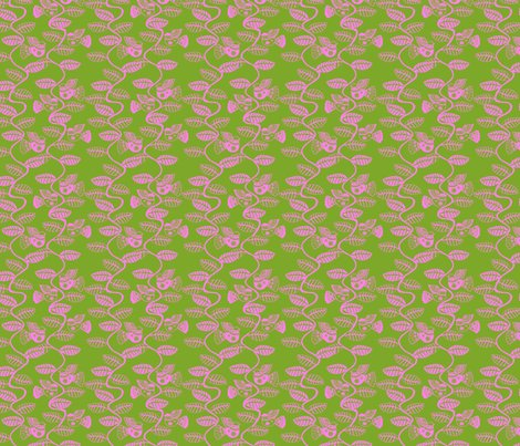 Roiseau_feuille_rose_fond_vert_s_shop_preview