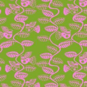 oiseau feuille rose fond vert S