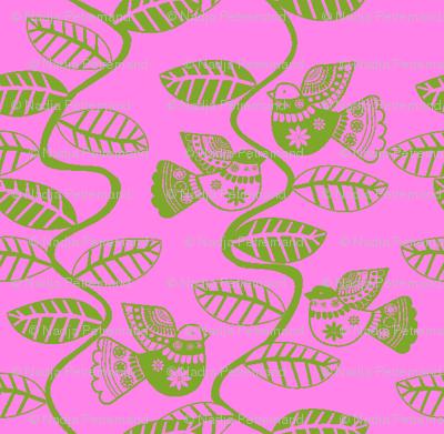 oiseau feuille vert  fond rose S