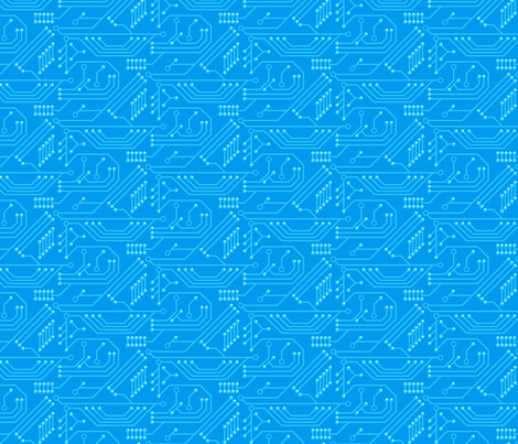 Robot coordinates - circuit board - blue fabric by coggon_(roz_robinson) on Spoonflower - custom fabric