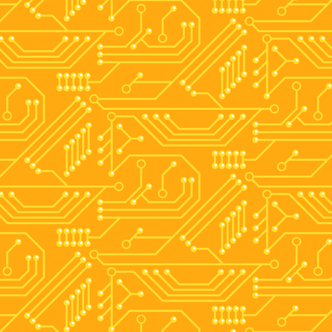 Robot coordinates - circuit board - yellow fabric by coggon_(roz_robinson) on Spoonflower - custom fabric