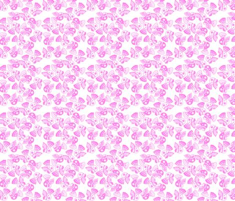 oiseaux rose fond blanc S fabric by nadja_petremand on Spoonflower - custom fabric