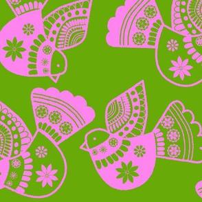 oiseaux rose fond  vert