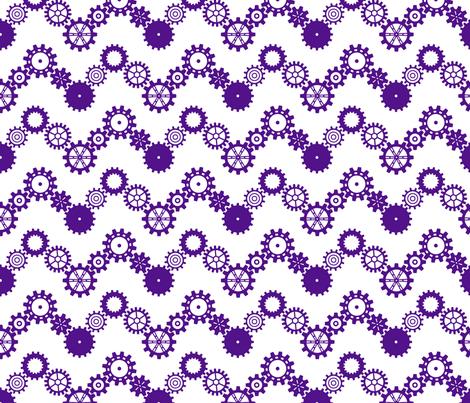 Robot coordinates - cog chevron - purple & white fabric by coggon_(roz_robinson) on Spoonflower - custom fabric