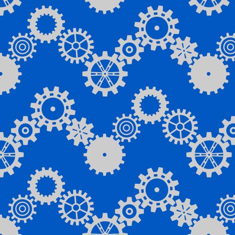 Robot coordinates - cog chevron - blue & grey fabric by coggon_(roz_robinson) on Spoonflower - custom fabric