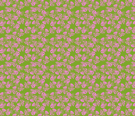 oiseaux rose fond vert S fabric by nadja_petremand on Spoonflower - custom fabric