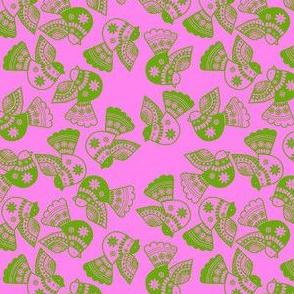 oiseaux vert fond rose S