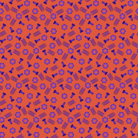 Robot coordinates - nuts and bolts - orange fabric by coggon_(roz_robinson) on Spoonflower - custom fabric