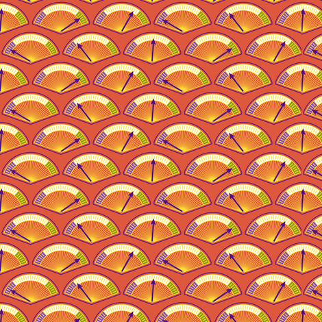 Robot coordinates - dials - orange fabric by coggon_(roz_robinson) on Spoonflower - custom fabric